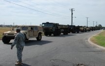 Task Force IKE pulls out headed for the aftermath of hurricane IKE. The Texas State Guard Medical Brigade was included in the convoy.Photo by MAJ Michael Spraggins