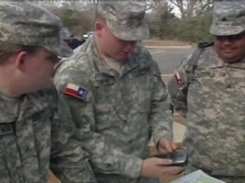 Texas State Guard, 2nd Battalion, 8th Regiment soldiers train with GPS devices to be used during hurricane season.Photo by KBTX - News - Bryan / College Station Texas