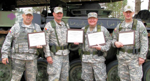 The QRT 19RGMT Team with their certificates pictured (L-R) SFC Dan Dzivi, SFC Mark Sliger MAJ Barry Hobbs, SGT Admir Pasalic and 1SGT Booth (not pictured).Photo by QRT 8RGMT TXSG TMF
