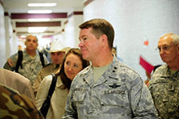 Photo of Maj. Gen. John Nichols touring the Medical Point of Dispensing (MPOD)