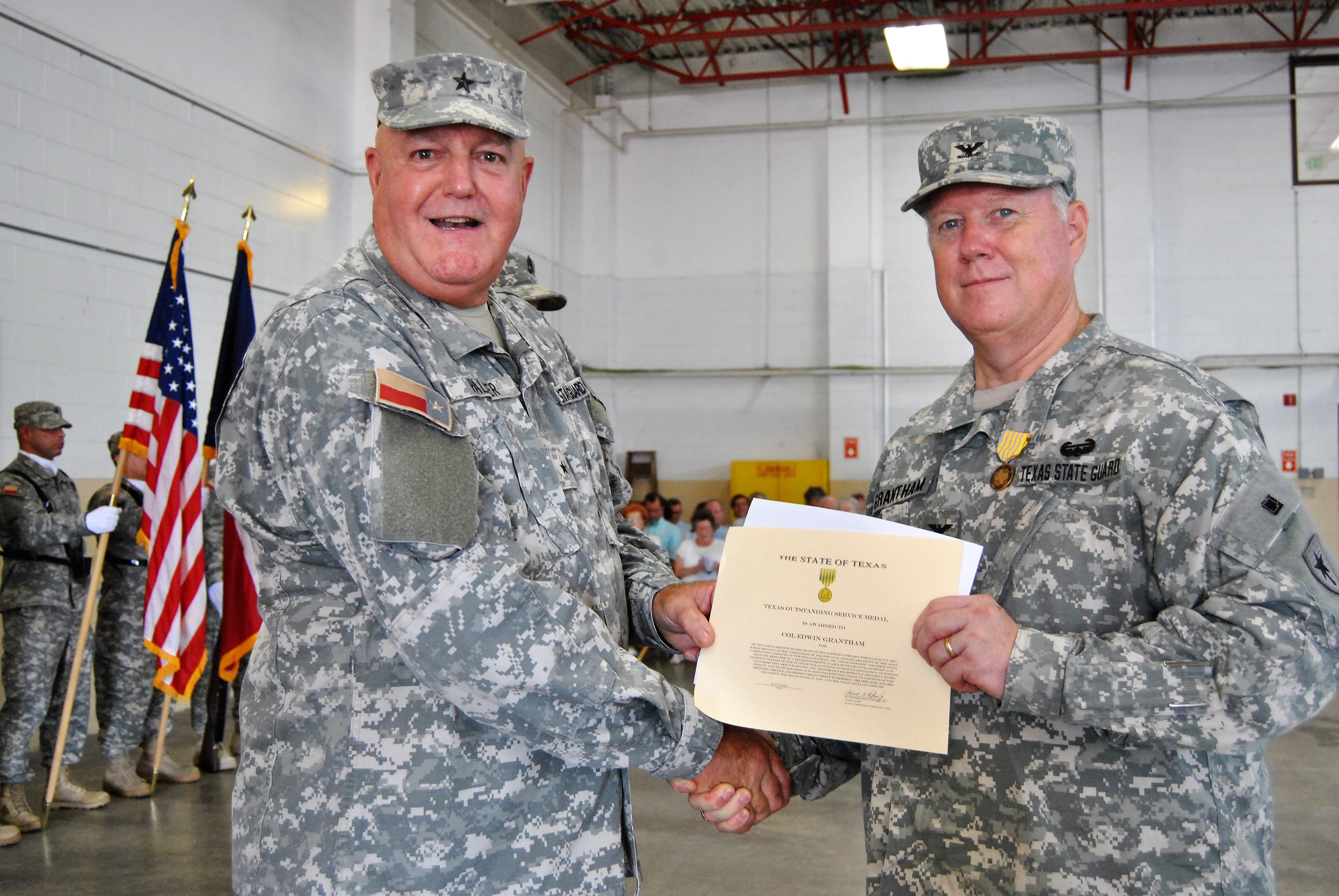 "Texas State Guard Army Component Command welcomed a new chief of staff, Col. E. A. ""Buddy"" Grantham, at Camp Mabry, Austin, Texas, August 1, 2017"