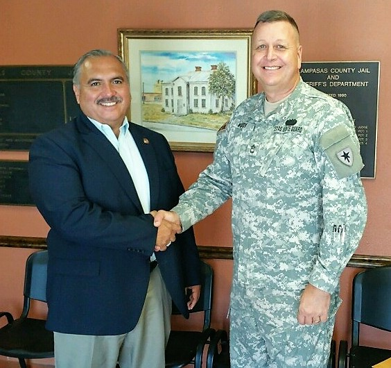 "Lampasas County Sheriff Jesus ""Jess"" Ramos thanks Sgt. Moody for his good-Samaritan action"