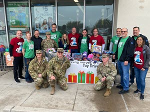 Texas State Guard members met with the CEO and VIPs of fiveBelow at the fiveBelow Gateway Station, Burleson, Texas, December 21, 2019. fiveBelow is a sponsor for the Texas State Guard - Young Heroes of the Guard Toy Drive.