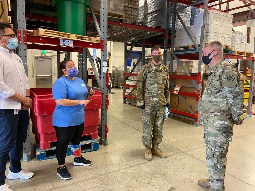 Brig. Gen. Charles Schoening Visits Texas National Guard Soldiers at the New Braunfels Food Bank -