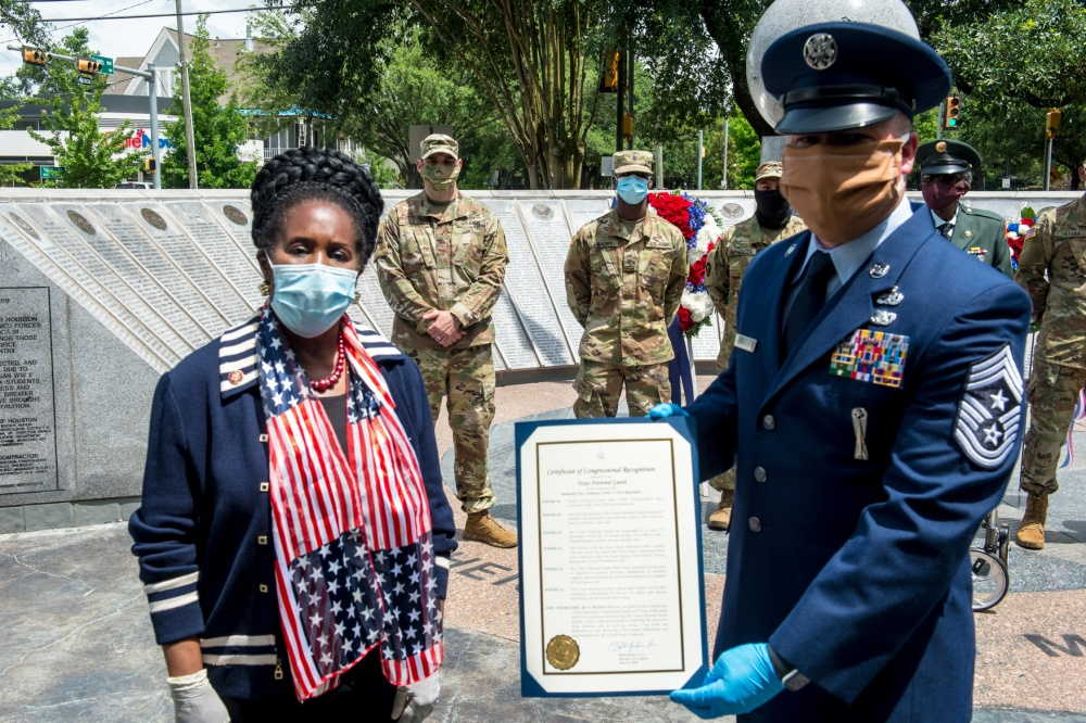Congressman Sheila Jackson Lee Presents Texas Military Department with a Certificate of Congressional Recognition -