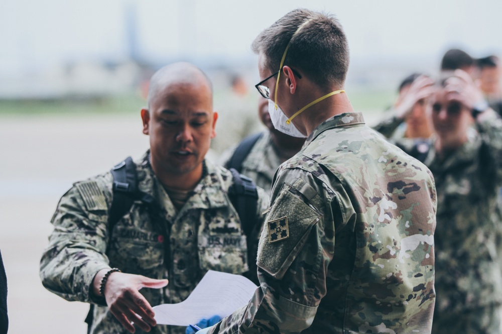 The Expeditionary Medical Facility Sailors arrive in Dallas, Texas -