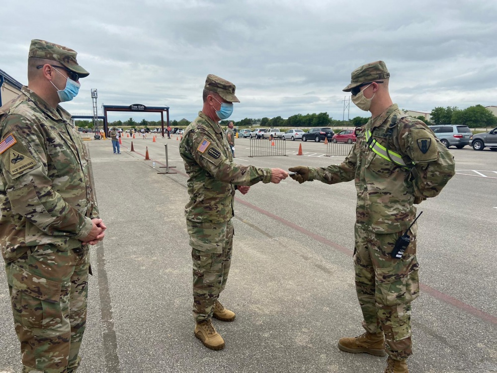 LTC Adrian Perez and CSM Gilbert Stamps Recognize Texas Army National Guard Soldiers for Excellence During the COVID-19 Response -